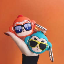 3D Cartoon Sunglasses Monkey Earphone Silicone Case for AirP
