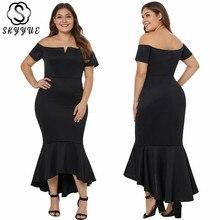 Skyyue Boat Neck Evening Dress Short Sleeve Long Dresses Evening Off Shoulder Robe De Soiree Solid Plus Size Evening Gown T013 недорого