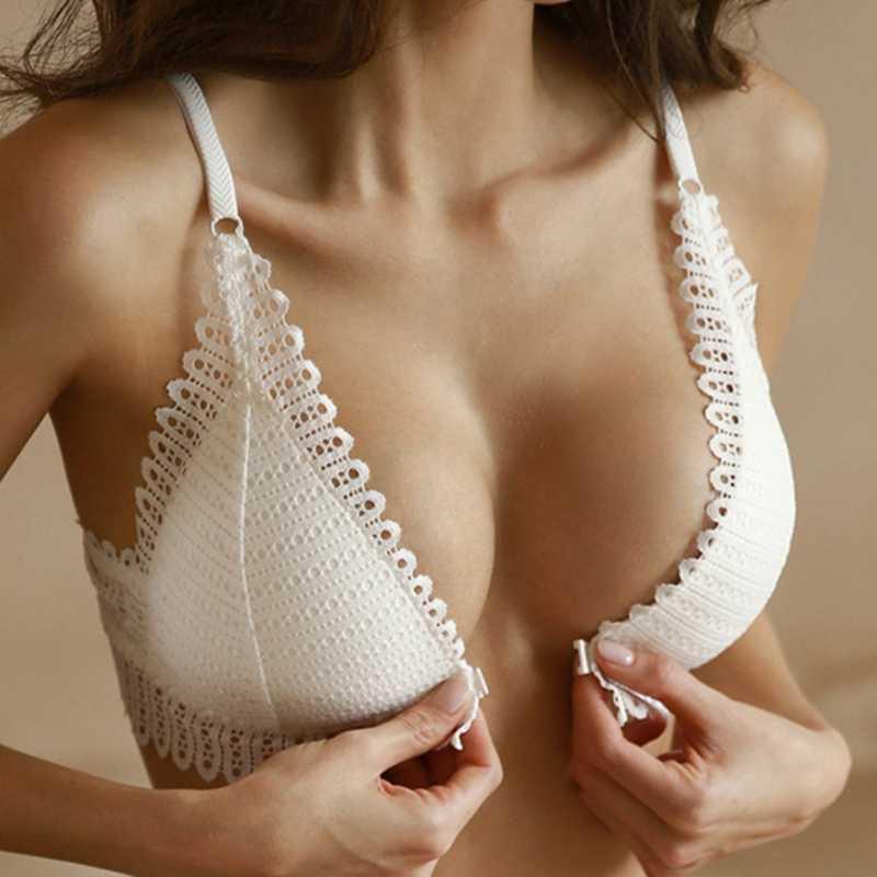 Dihope Sexy Spitze Wireless Vor Schließung Bras Frauen Sexy Dessous Komfort Push-Up Bh Einstellbar Plus Größe Backless Bralette