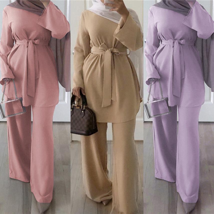 Eid Mubarek Women Abaya Dubai Islam Turkey Hijab Muslim Fashion Karftan Marocain Femme Middle East Islamic Clothing Pant Set