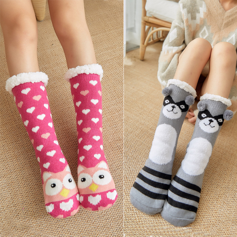 New Women Cozy Solid Socks Raccoon, Owl, Penguin, Sheep Cartoon Funny Socks Winter Warm Sleep Fleece-lined Socks  Christmas Gift