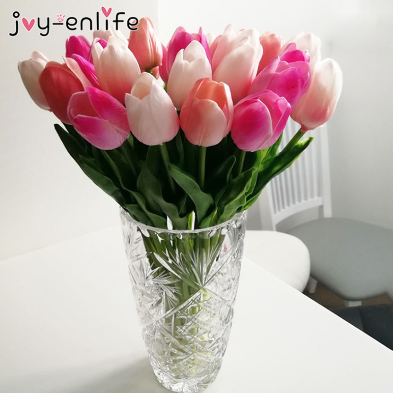 10pcs Beauty Real touch flowers latex Tulips Artificial Flower Bouquet Fake flower Wedding Bridal Decoration flowers for wedding