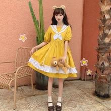 Yellow Dresses Short-Sleeve Collar Sailor Lolita-Style Girls Sweet Vintage Preppy Cute