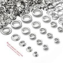 KALASO 100sets Pure Brass Material Silver 4mm/5mm/6mm/7mm/8mm/10mm Grommet Eyelet With Washer Fit Leather Craft Shoes Belt Cap