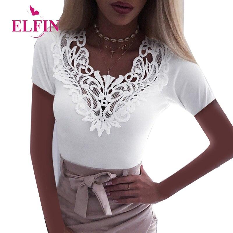 Повседневная Кружевная летняя футболка с коротким рукавом и v-образным вырезом, женские элегантные офисные топы, Корейская одежда размера п...