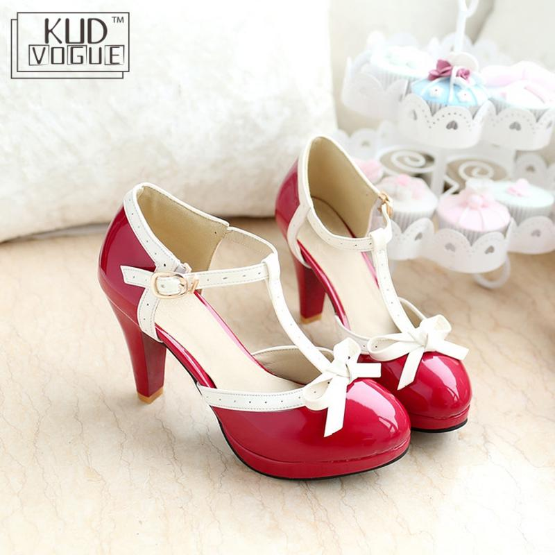 Princess <font><b>Lolita</b></font> Mary Jane <font><b>Shoes</b></font> Woman Pumps High Heels <font><b>Red</b></font> White Bowtie Ladies Summer Strap Spike Sexy Heel Party Platform Pumps image