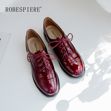 ROBESPIERE Winter New Lace-Up Casual Flats High Quality Genuine Leather Round Toe Shoes Woman Fashion Black Red Party Flats A11 skyyue new genuine leather lace up women casual flats top quality brand round toe comfortable flats shoes women