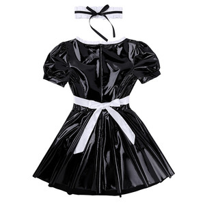 Image 5 - 3Pcs Women Adults French Maid Cosplay Costume Outfit Square Neck Puff Sleeve A line Patent Leather Dress with Apron and Headband