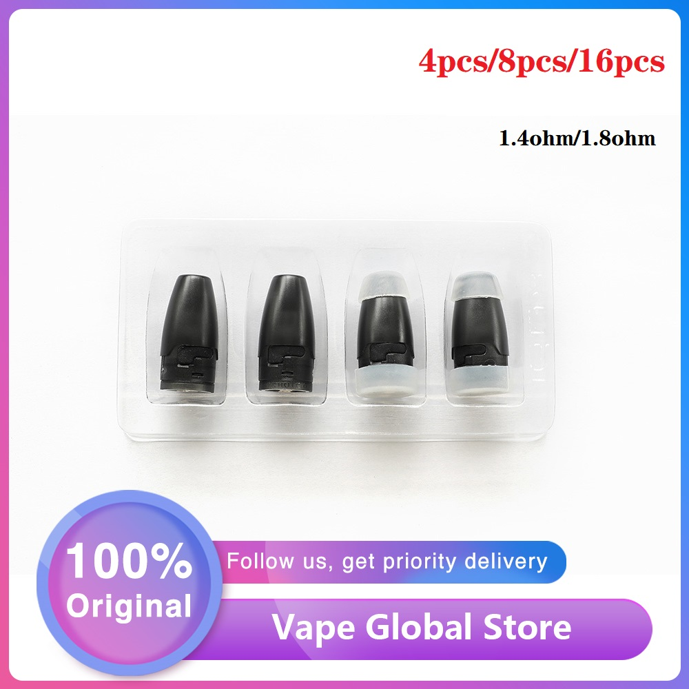 NEW Original 4pcs 16pcs Hotcig Kubi Refillable Pod Cartridge W/ 1.8ohm Ceramic Coil Leak-proof E-cig Pod For Hotcig Kubi Pod Kit