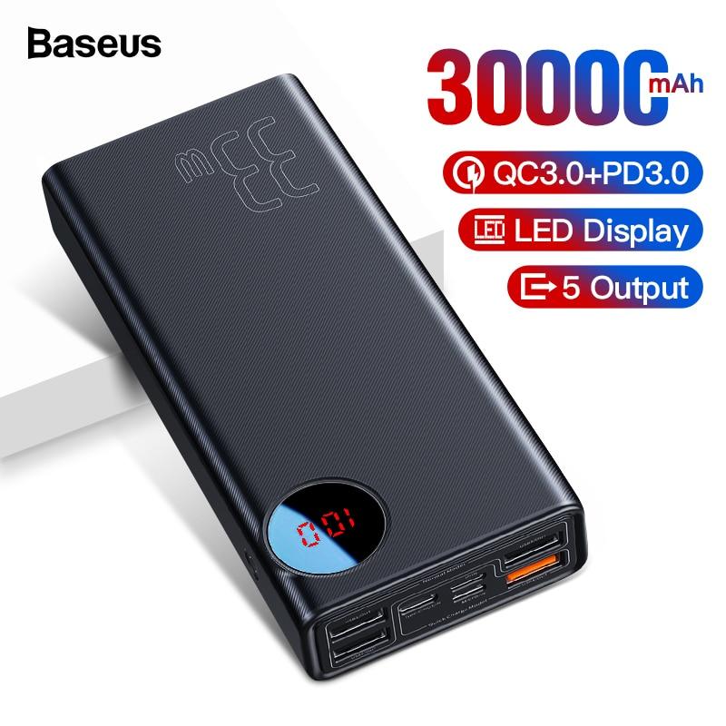Baseus Charge rapide 3.0 30000 mAh batterie externe PD USB type C rapide Powerbank pour Xiaomi 30000 mAh chargeur de batterie externe Portable