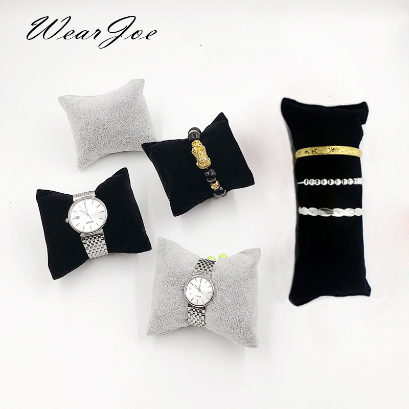 Wholesale Durable Velvet Pearl Bracelet Watch Display Pillows For Case Bangle Anklet Wristwatch Holder Jewelry Counter Organizer