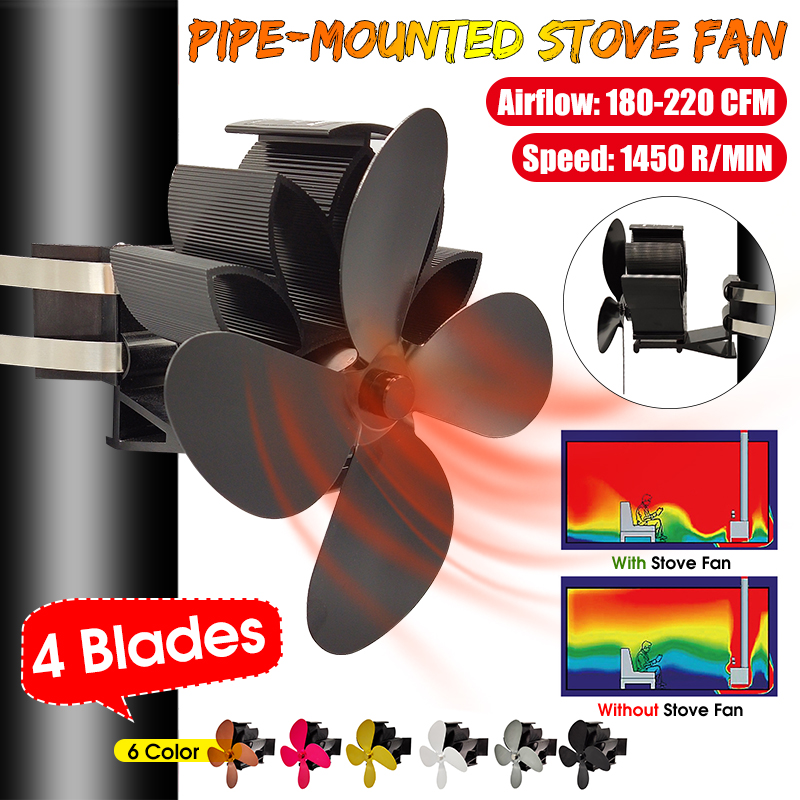 Adjustable Wall Mouted 4 Blades Heat Powered Stove Fan Log Wood Burner Ecofan Quiet Home Fireplace Fan Efficient Heat Distribute