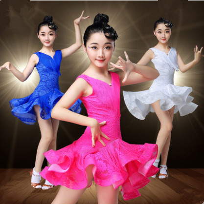 Kids Lace Stage Tassels Competition Latin Dance Dress Girls Gymnastics Practice Party Dancing Dress Stage Dancewear Costumes