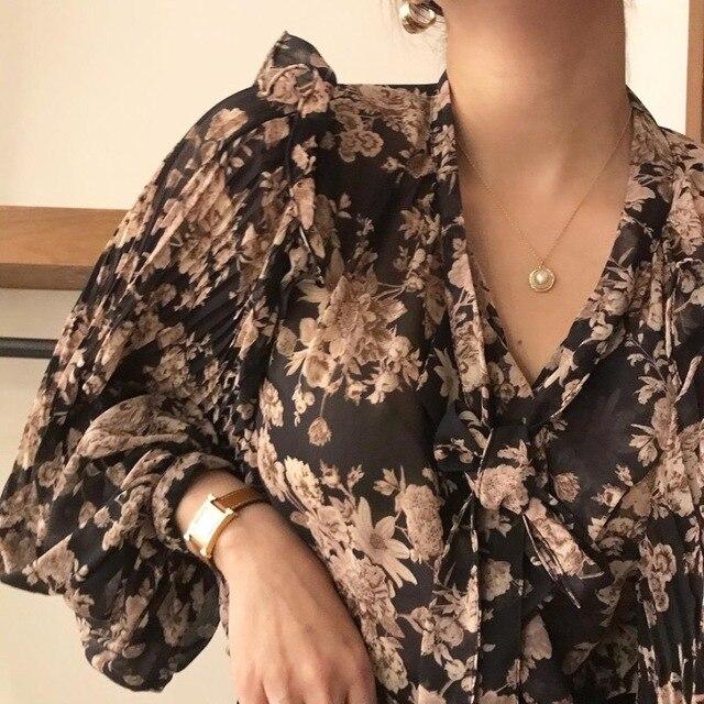 Ezgaga Blouse Women Korean Chic Sweet Lace Up V-Neck Floral Printed Long Lantern Sleeve Ruffles Ladies Shirts Fashion Blusas 4