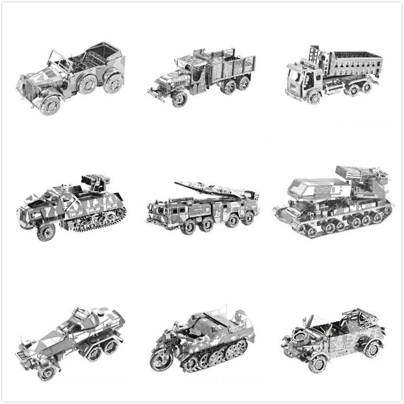 Militaire Voertuig Pantserwagen Vrachtwagen DIY 3D Metalen Puzzels Model Kits Laser Cut Jigsaw Volwassenen Rocket Launcher Collectie Speelgoed