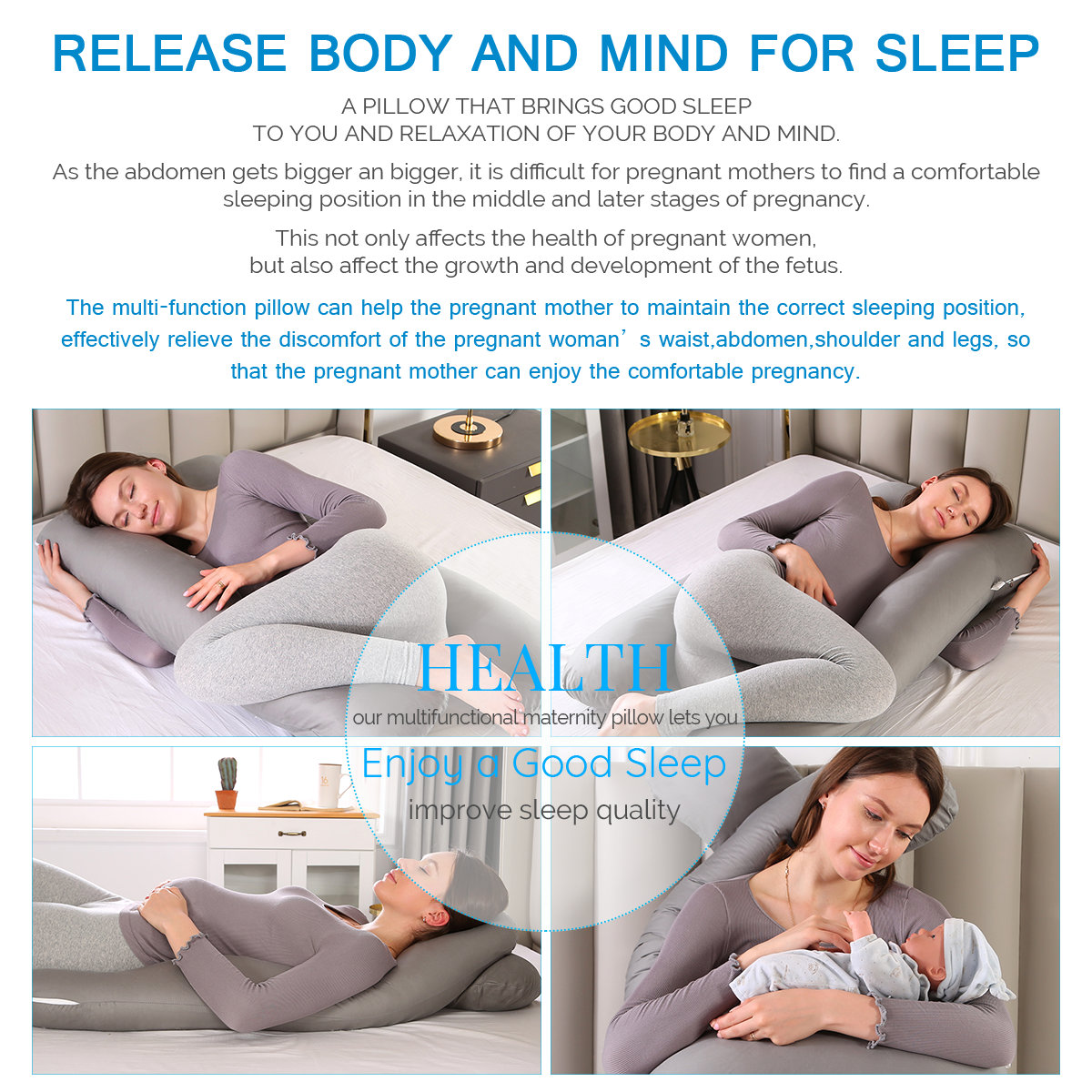 U-shaped Pregnancy Pillows Comfortable Maternity Belt Body Pregnancy Pillow Women Pregnant Side Sleepers Cushion for Bed 4