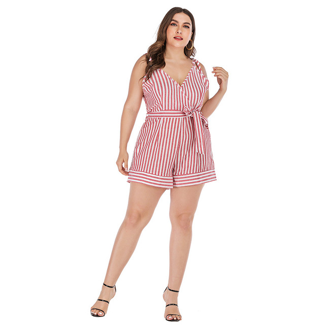 2019 new summer plus size sets for women large sleeveless loose casual stripe low-cut sling jumpsuits belt pink 4XL 5XL 6XL 7XL 5