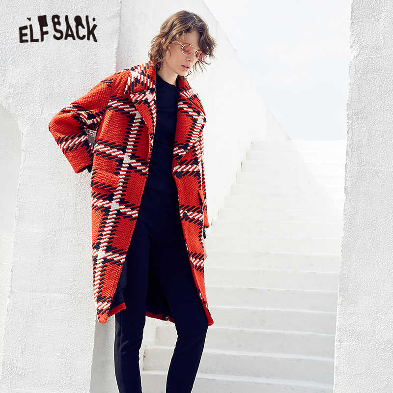 ELFSACK Plaid British Warm Long Coats Women Woolen Coat 2019 Winter Elegant Workwear Office Ladies Outwear