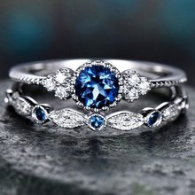 Luxury Green Blue Stone Crystal Rings For Women Sliver Color Wedding Engagement Rings Jewelry Drop Ship Pour 2Pcs/Set(China)
