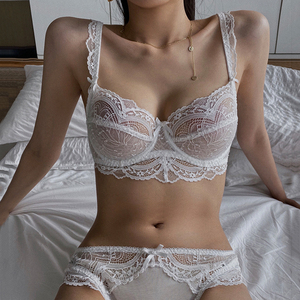 New White Transparent Women Bra And Panties Set Lingerie Sexy Plus Size C D E Cup Push Up Brassiere Lace Underwear Sets For Girl