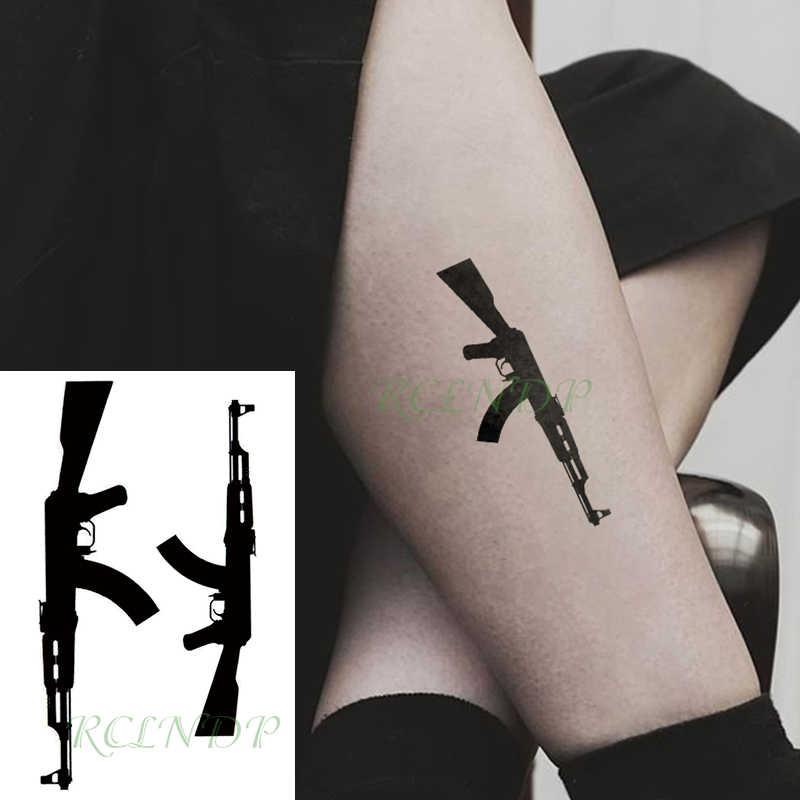 Su geçirmez geçici dövme etiket siyah makineli tüfek dövme flaş dövme sahte dövmeler erkekler kadınlar için