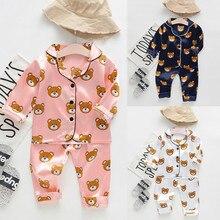 Новые Модные осенние Топы с длинными рукавами и рисунком медведя для маленьких мальчиков+ штаны, пижамы, одежда для сна, roupa infantil Z4