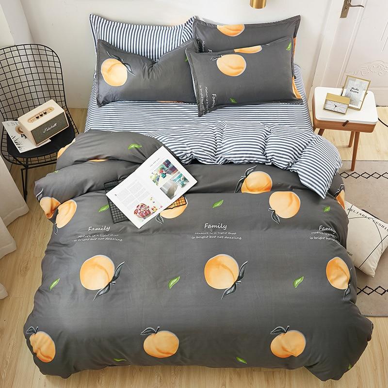 Gray Duvet Cover Set 3/ 4pcs Bedding Set Bedclothes Peach Print Home Bed Linens King Queen Full Single Size