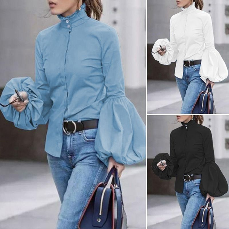 Autumn Turtleneck Blouse Women Button Down Shirts Wide Lantern Sleeve Blue Tops Fall Office Lady Fashion White Clothes