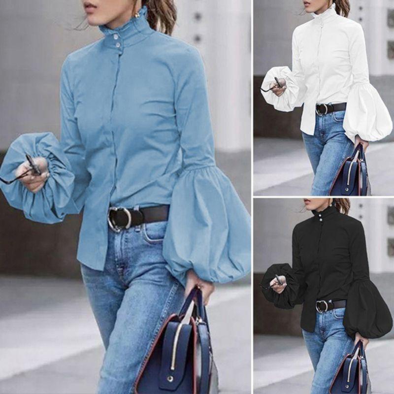 Herbst Rollkragen Bluse Frauen Taste Unten Shirts Breite Laterne Hülse Blau Tops Herbst Büro Dame Mode Weiße Kleidung