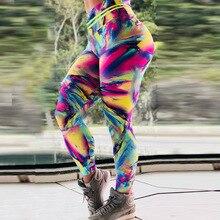 Color Block Printed Women Fitness Legging 2019 High Waist Elastic Woman Push Up Leggings Pants Sportwear Activewear Leggin casual striped color block elastic waist leggings for girls