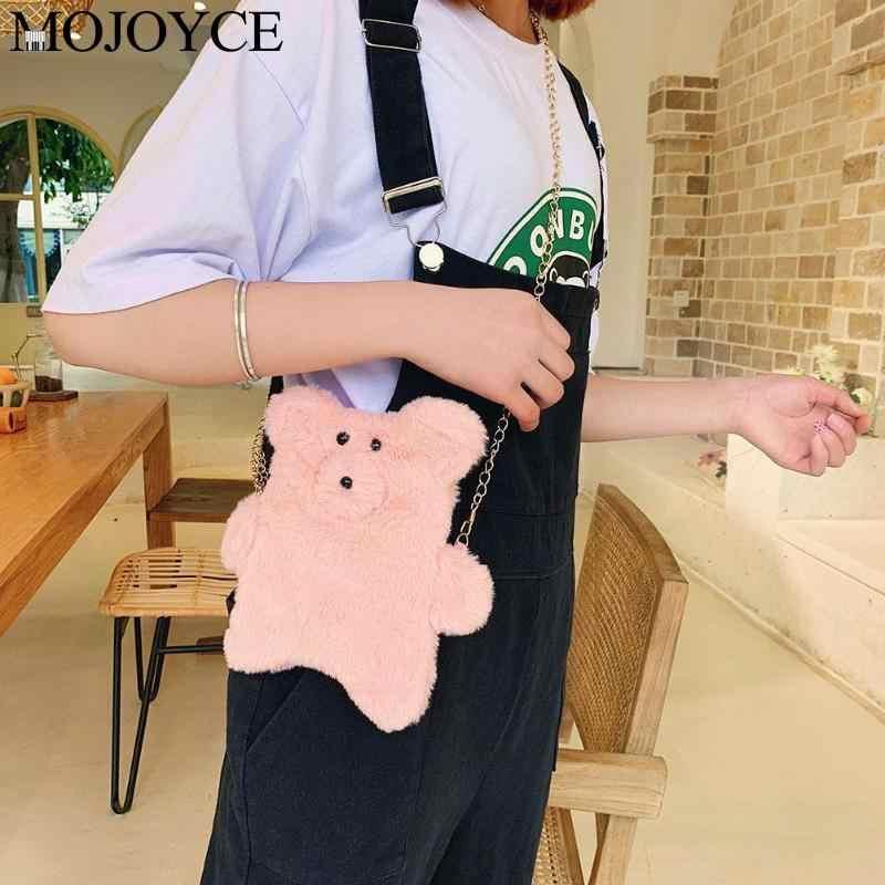 Милый плюшевый медведь, зимняя сумка на плечо, женская сумка через плечо с цепочкой, женская новая сумка через плечо, отличное качество
