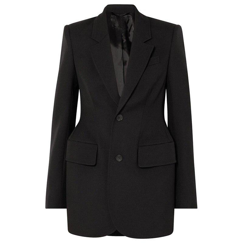 2019 New Fashion Black Khaki Office Ladies Temperament Shoulder Pad Single Breasted Long Sleeved Suit Women Blazer Female Autumn