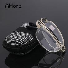 Presbyopic Glasses Folding Eyewear Ahora Portable Women Metal Unisex 1-1.5-2.0 Square