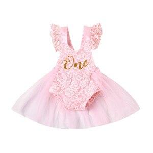 Для маленьких девочек; Комбинезон для детей; Платья с юбкой из тюля для малышей в возрасте 1 года крестильное кружевное Тюлевое платье для де...