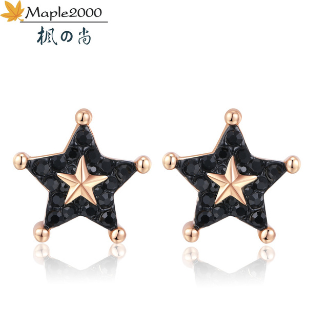 Модные серьги гвоздики со звездами модные женские из латуни