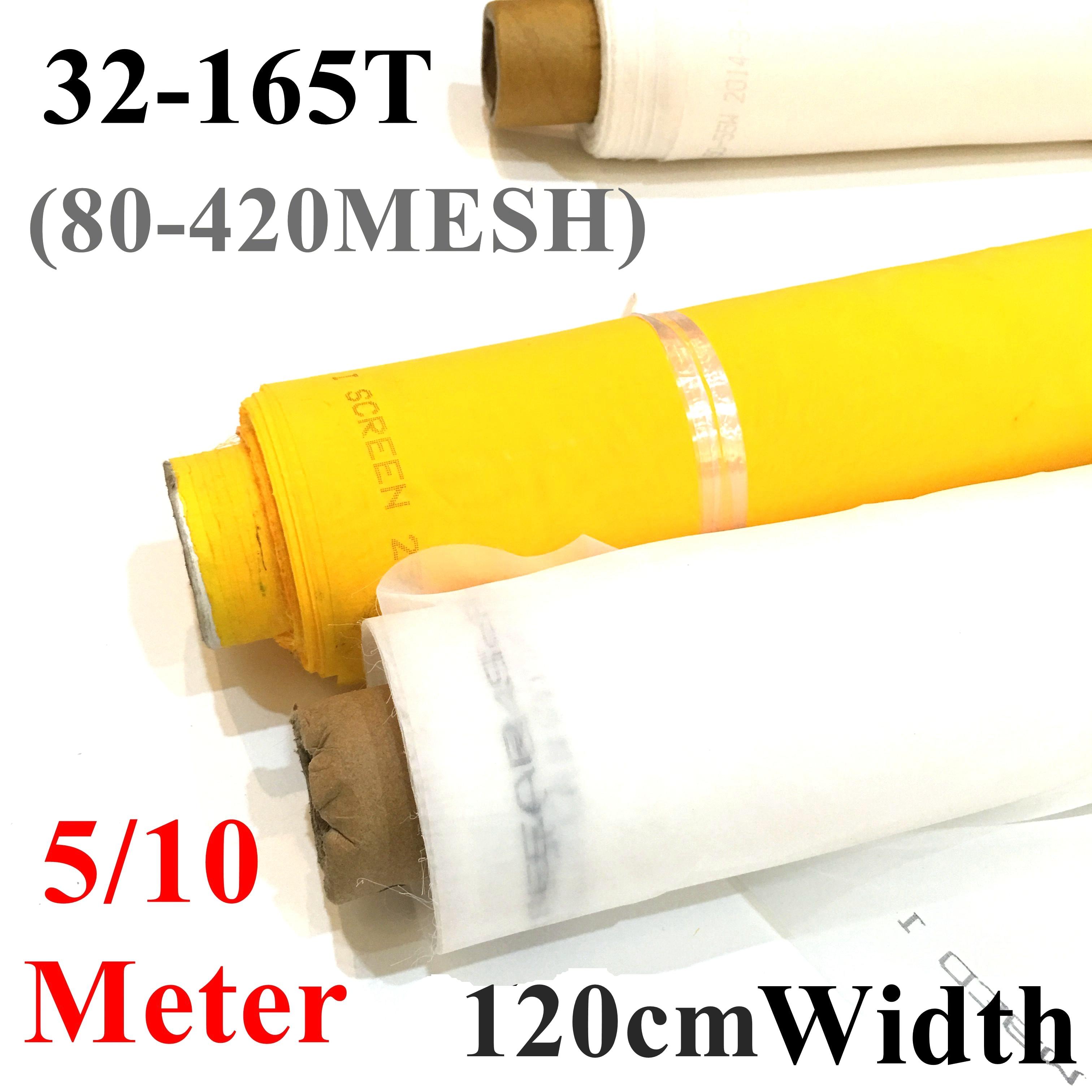 Wholesale 5/10 Meter 80-420M Silk Screen Printing Mesh 120CM Width 32T-165T White Polyester Screen Printing Mesh Fabric Tools