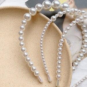 [Xwen] 2020 Neue Frauen Einfache Perlen Stirnband Alle-match Haar Bündel Mädchen Haar Band Mode Zubehör OH168804