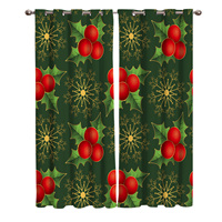 Christmas Themed Holly Plants And Golden Snowflakes Kitchen Bedroom Curtain Panels With Grommets