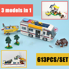 DECOOL 3117 City Creator 3 in 1 Vacation Getaways Model Building Blocks Enlighten DIY Figure Toys For Children Compatible Legoe 21001 lepin creator t1 camper van model building blocks classic enlighten figure toys for children compatible legoe