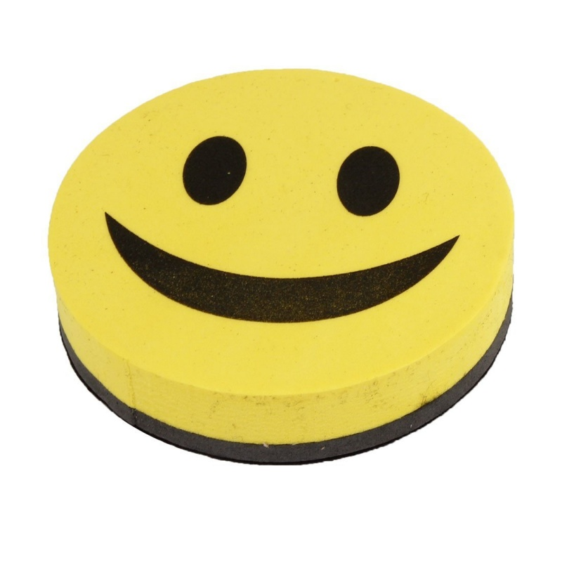 Good Mood Whiteboard Sponge And Slate, Smiley, Magnetic, Yellow And Black