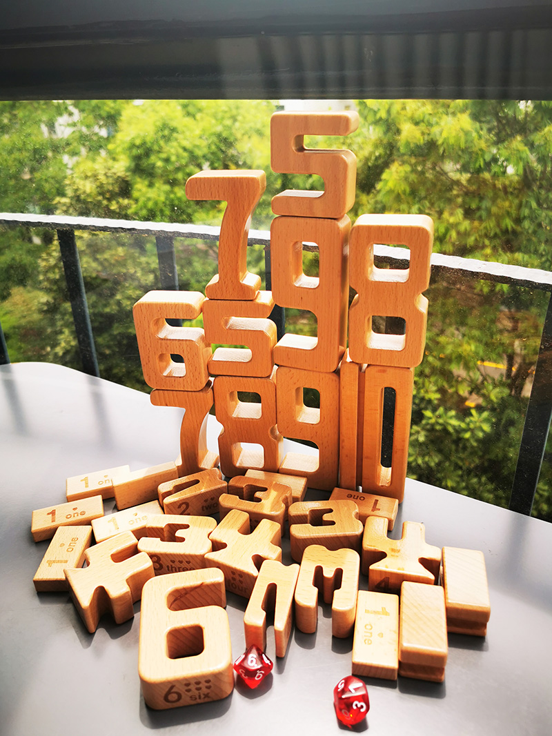 Children Big Wooden Toys Beech Wood Digital Blocks/ Math Blocks For Kids Early Learning Educational Toy