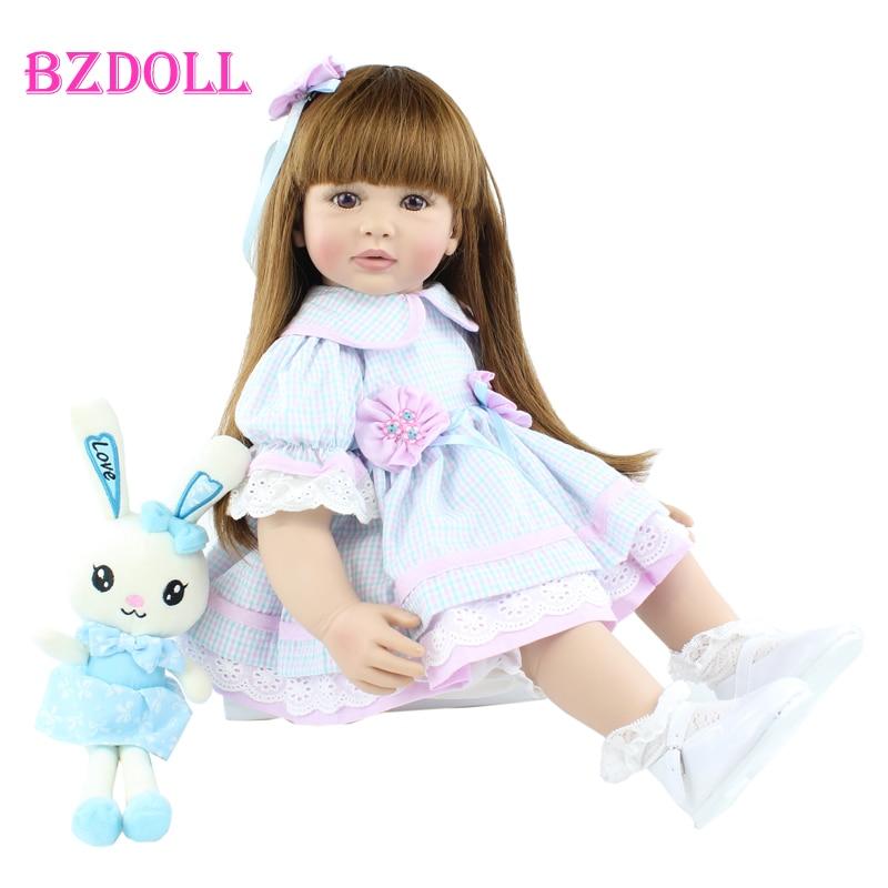 60 CM Silicone Reborn Girl Doll Toy Lifelike Vinyl Princess Toddler Babies Alive Bebe Dress Up Girl Birthday Gift