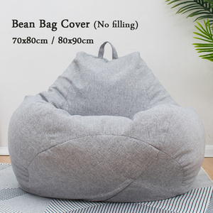 Image 5 - Large Bean Bag Chairs Sofa Covers Solid Color Simple Design Indoor Lazy Lounger for Adults Kids No Filling