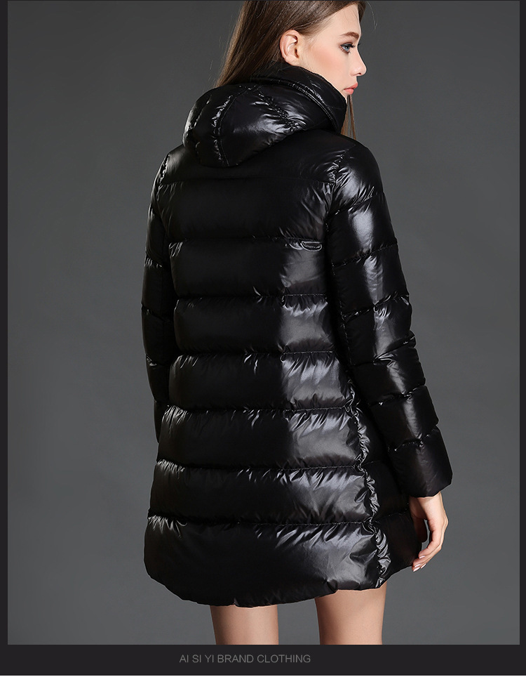 New Winter Warm Duck Down Jacket Women European Fashion Slim Hooded Ladies Black Long Parkas Cloak Coats LX2229