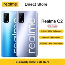 Realme için Q2 5G cep telefonu Dimensity 800U Octa çekirdek 6.5 ''120Hz tam ekran 48MP arka kamera 5000mAh cep telefonu
