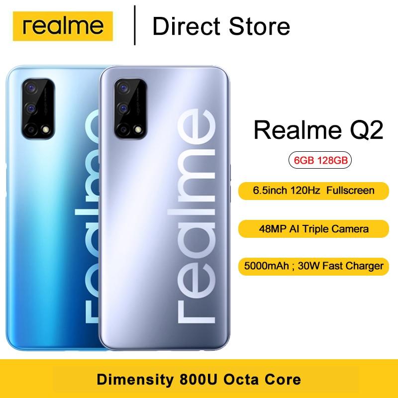 Realme q2 5g do telefone móvel dimensionity 800u octa núcleo 6.5 cellphone cellphone 120hz tela cheia 48mp câmera traseira 5000mah celular