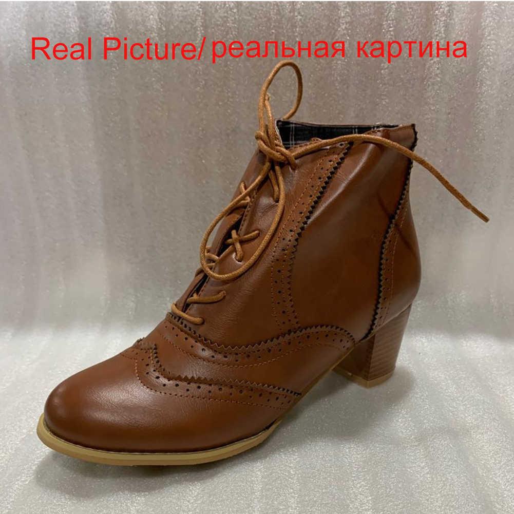 RIBETRINI สไตล์อังกฤษไม้ Chunky รองเท้าส้นสูงรอบ Toe Lace Up Casual รองเท้าผู้หญิงฤดูใบไม้ร่วงฤดูหนาวรองเท้าข้อเท้าสั้น