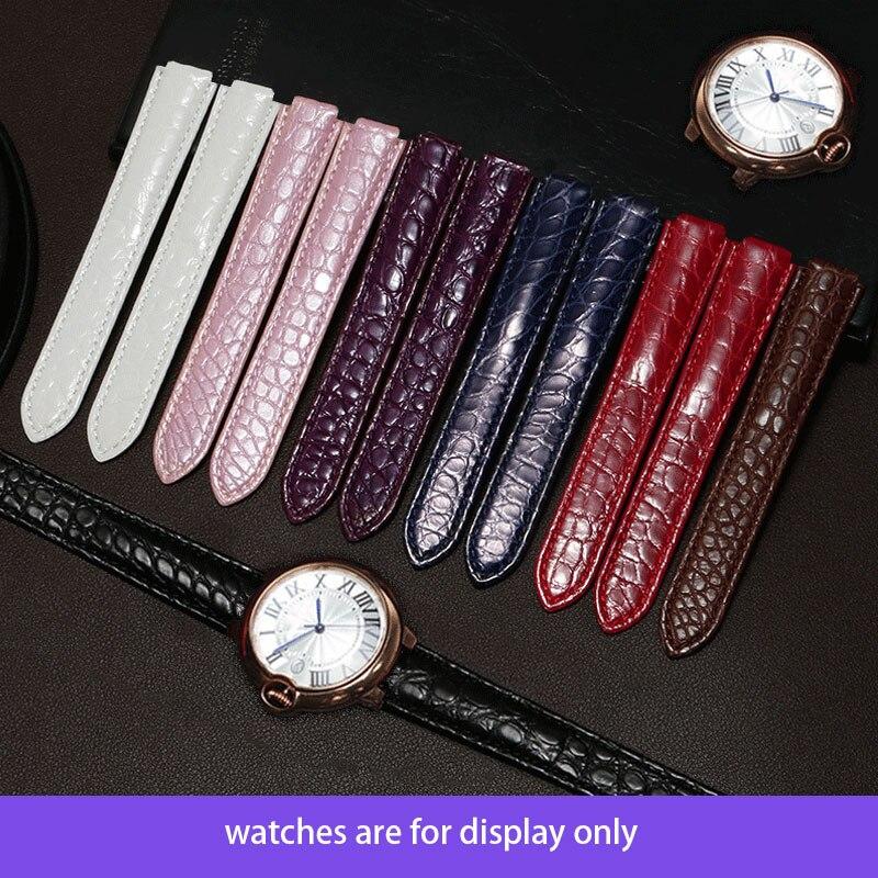 TKN bracelet en cuir véritable Crocodile noir blanc rouge rose bleu marron violet bracelet interface convexe remplacement Cartier ceinture