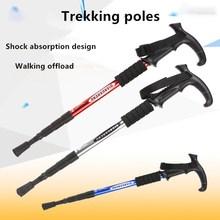 Hiking Alpenstock Walking Poles Outdoor Folding Adjustable Trekking Poles Telescopic Walking Sticks Anti Shock Hiking Stick