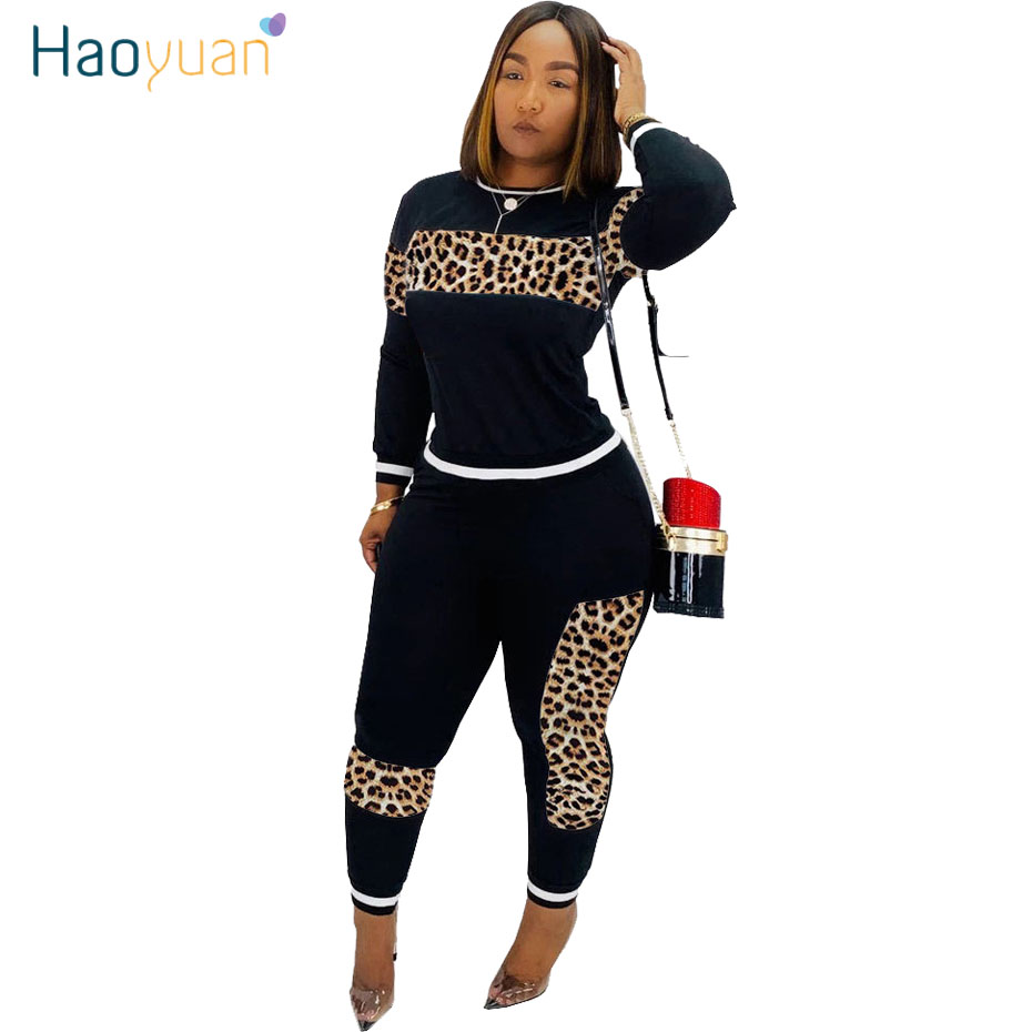 HAOYUAN Leopard Splice Two Piece Set Tracksuit Women Fall Festival Top Pant Sweat Suits 2 Piece Birthday Outfits Matching Sets